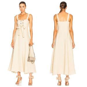 NWT Mara Hoffman Mei Hemp Beige Lace Up Dress